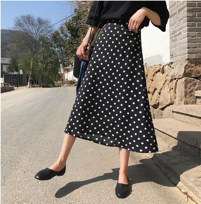 复古波点高腰显瘦包臀半身裙女春夏韩版气质中长款鱼尾裙