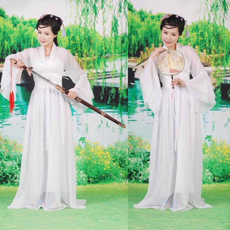 古装服装 仙女 cosplay 女 2012 新品白色古筝演出服侠女装小龙女