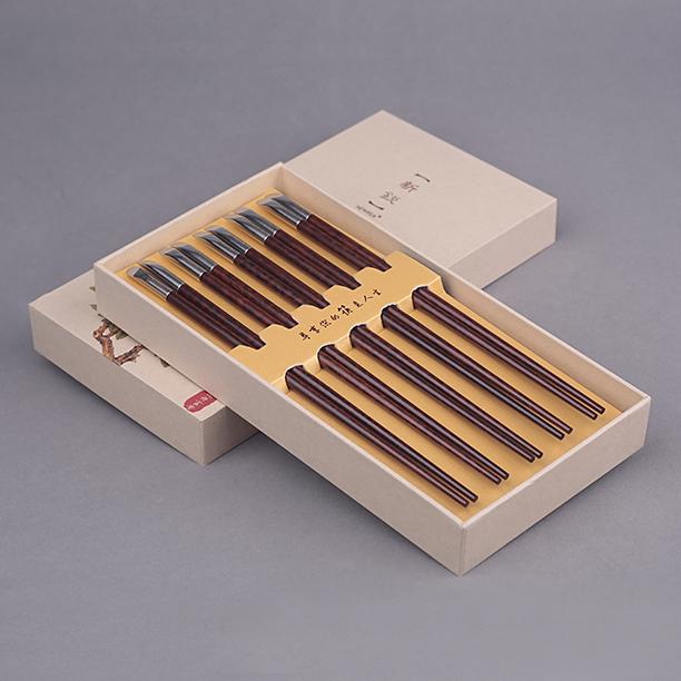 新锐品牌 B级蛇纹木不锈钢筷子家庭餐具5双工艺 礼品套装,可领取200元天猫优惠券