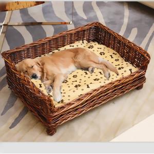 狗窩藤編寵物窩可拆洗貓窩夏季泰迪比熊金毛大中小型犬用品狗狗床