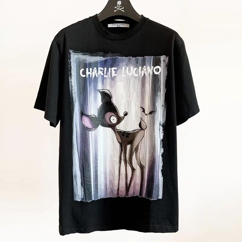 正品Charlie Luciano 夏季新品小路匹诺曹小鹿卡通短袖T