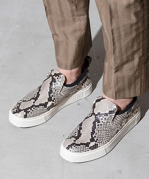 Tokyo direct mail nil admirari mens Japanese simple Snake Skin leopard pattern casual low top cow leather shoes