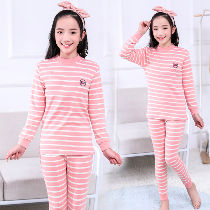 Girls autumn clothes and trousers set pure cotton girls 13 middle school students 12 inner wear 15-year-old cotton underwear, thread clothes and trousers