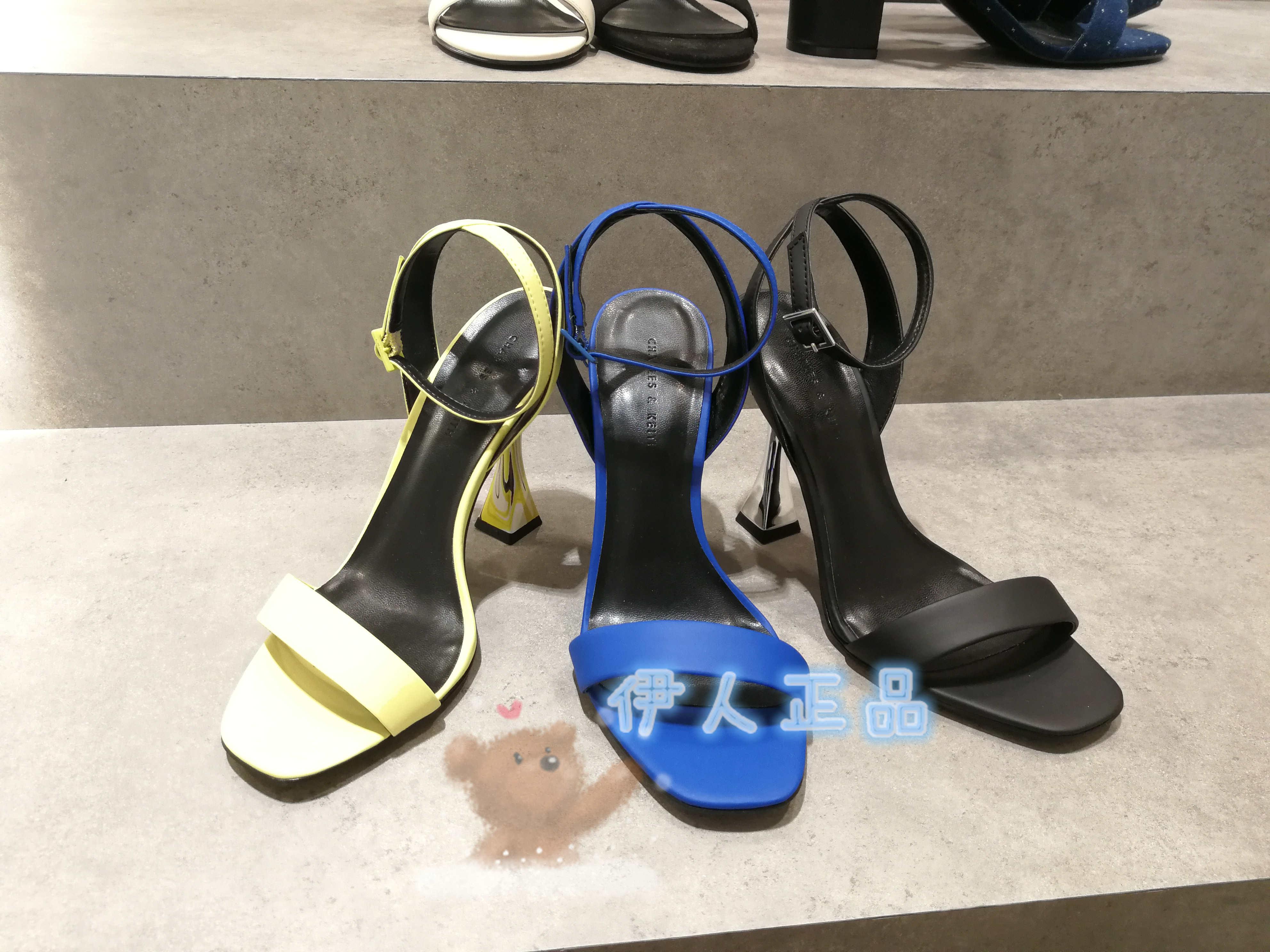 CHARLES&KEITH凉鞋 小CK1-60361162彩绘沙漏跟一字带饰高跟凉鞋