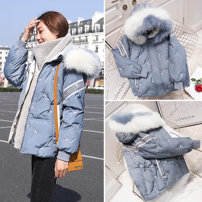 2020 womens winter Korean loose short down jacket womens color fur collar blue small coat