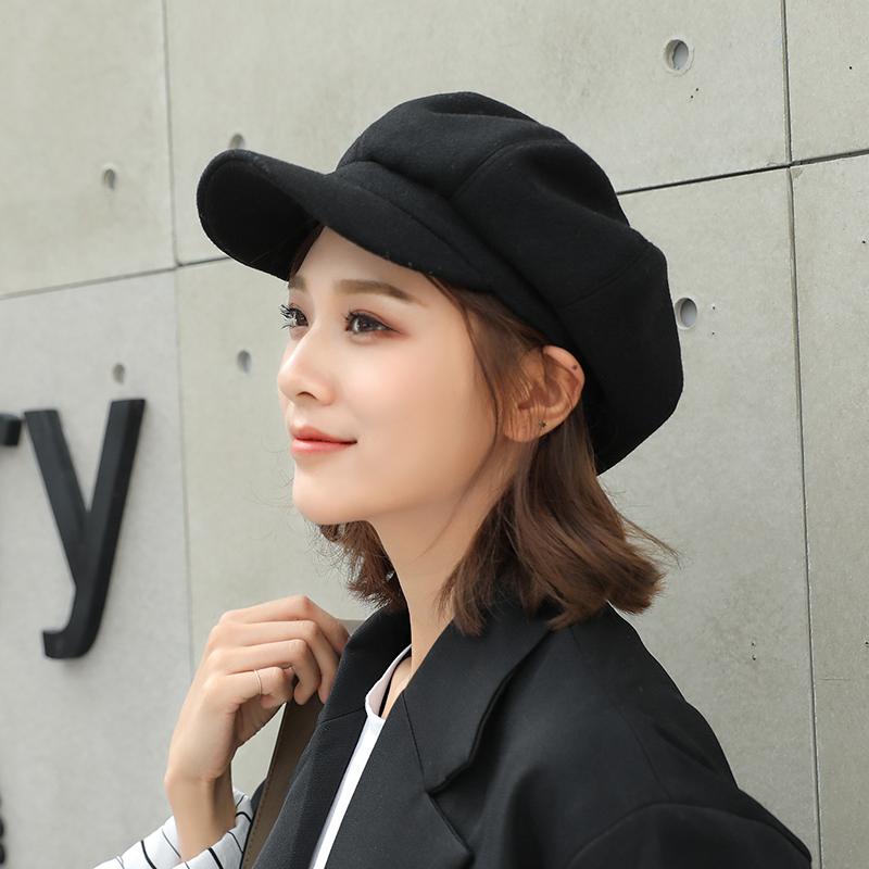 帽子韩版女时尚毛呢八角帽百搭出游报童帽柔软宽檐青年贝雷鸭舌帽