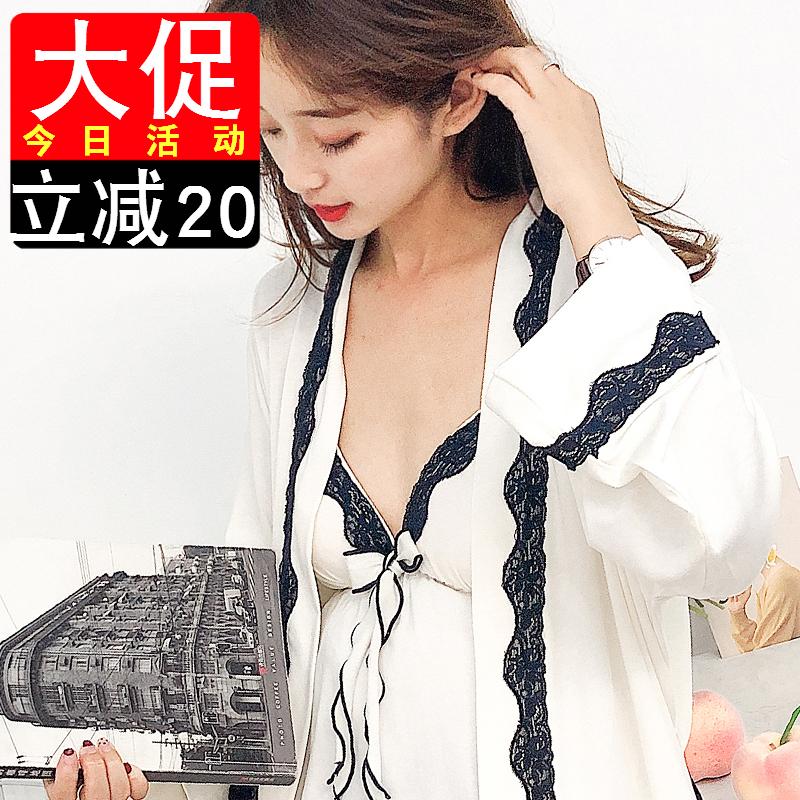 睡裙女带胸垫可外穿睡衣性感吊带花边裙带胸垫两件套莫代尔薄胖mm