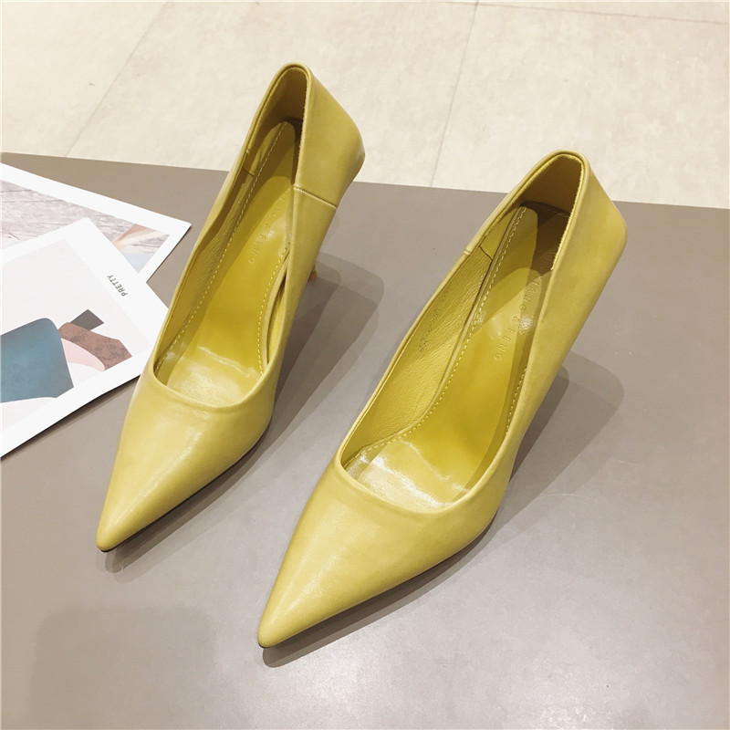 8cm thin heel sexy high heels womens spring 2020 new Korean plain face shallow mouth pointed commuter womens small shoes