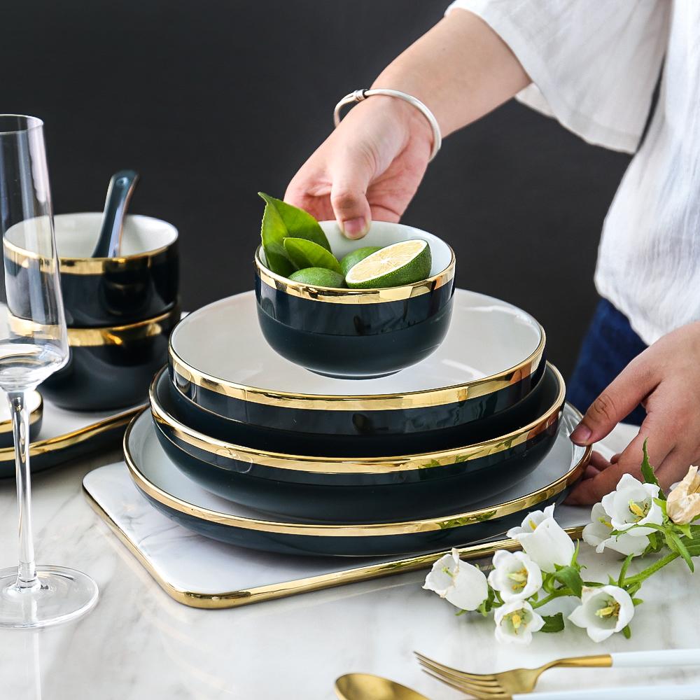 五折促销川岛屋北欧风格金边碗餐具网红盘子