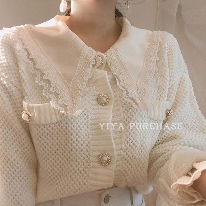 韩国代购ins官网甜美蕾丝翻领喇叭袖衬衫+圆领针织开衫外套两件套