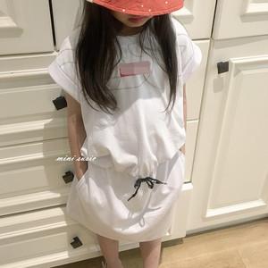 100-150日系女童潮童纯棉字母短袖收腰两侧口袋连衣裙