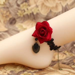 包邮DIY红绳玫瑰花朵黑色蕾丝时尚流行复古哥特饰品女款首饰脚链