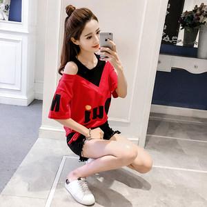 t恤女短袖2021春夏新款韩版宽松显瘦圆领露肩拼接假两件百搭上衣