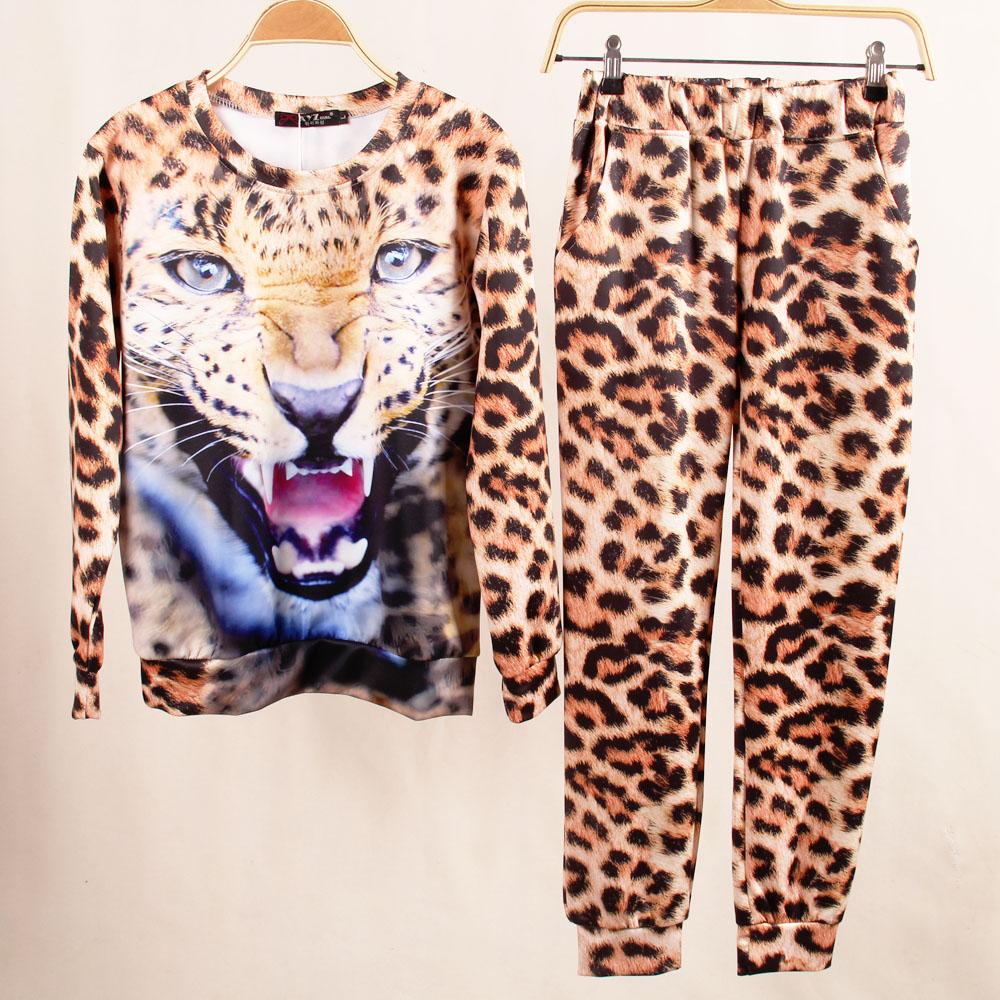 Взрывы свитер костюм с большой личностью 3D лев тигр Leopard печати упакованы бум базовый свитер леггинсы