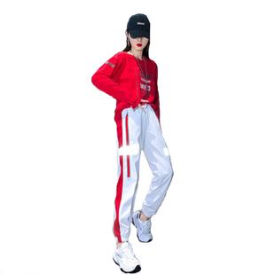嘻哈套裝女純棉夏鬼步舞2020洋氣減齡曳步街舞休閒兩件套
