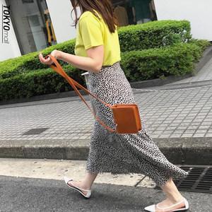 杂志同款mi1a纯元18春款麦穗不修毛边喇叭鱼尾雪纺半身裙及踝长裙