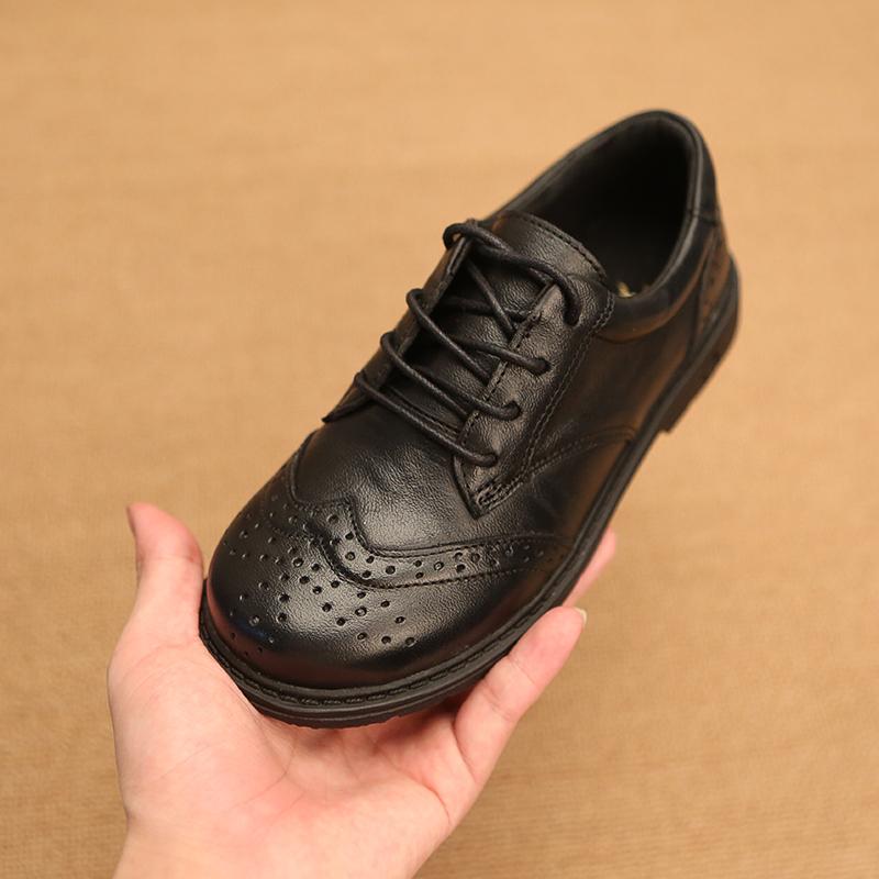 男童皮鞋黑色校园英伦儿童春秋男孩软底真皮休闲中大童学生演出鞋