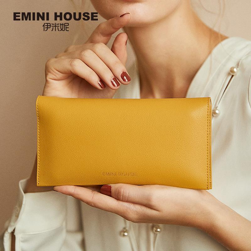 伊米妮2019黄色钱包女短款多卡位长款招财经典优雅复古手拿女钱包