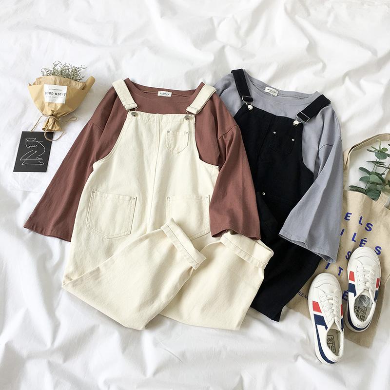 网红秋装2018新款女装韩版长袖T恤阔腿背带裤子俏皮女神两件套装