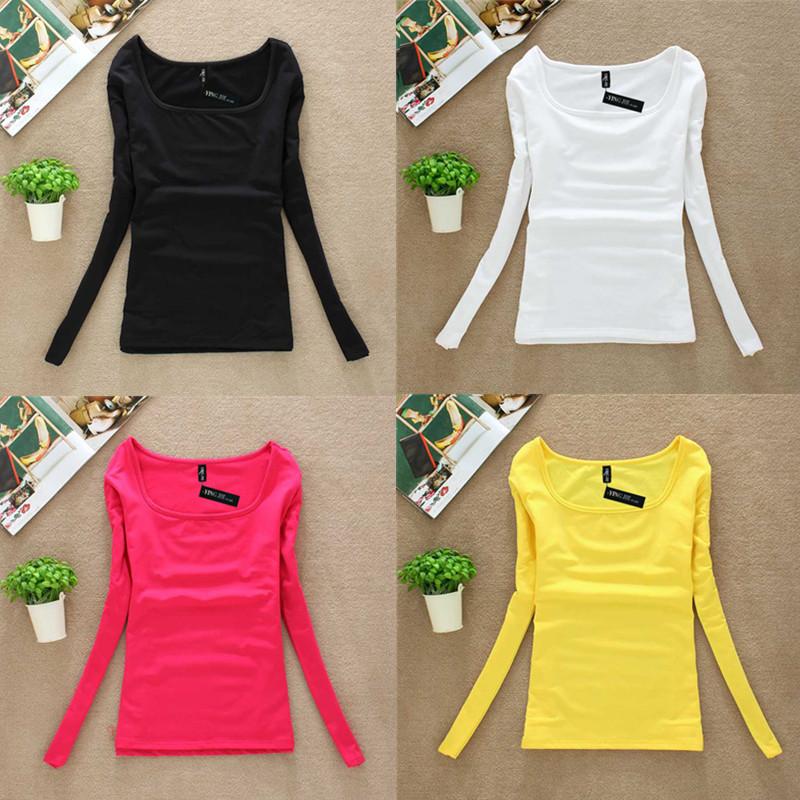 Slim базы осенью 2015 года Корейская версия сплошной цвет рубашки женщин с длинным рукавом t рубашка белый с тонкий ватки плюс размер хлопка воротник рубашки