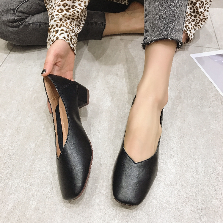 3cm thick heel square head leather single shoes 42 soft soled large womens shoes work shoes cover feet boat shoes Korean shoes