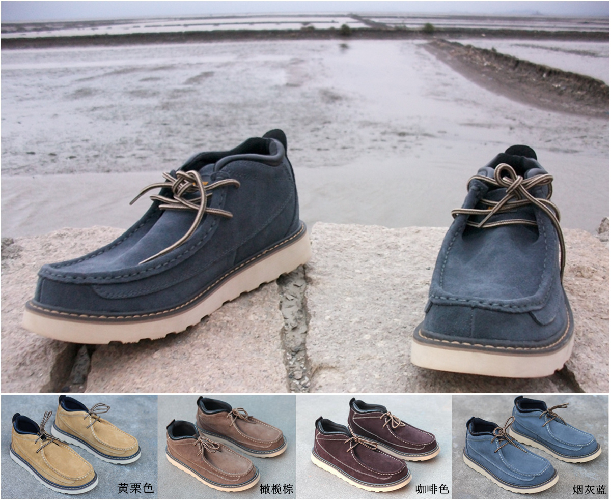 Foreign trade merchandised leather kangaroo shoes with anti slip and widened rubber sole casual mens shoes with large size 45 and 46 tooling style