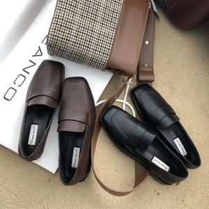 夏季一脚蹬方头韩版jk英伦风小皮鞋
