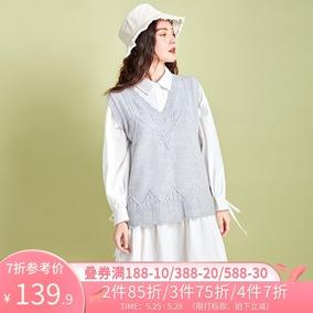 阿卡2020春季新款无袖v领羊毛衫
