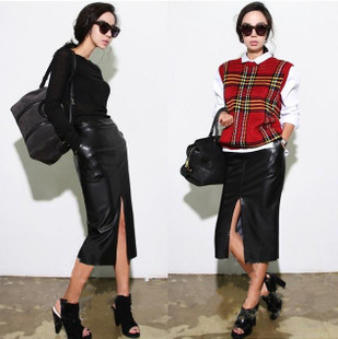 Lower skirt womens autumn winter mid length skinny leather skirt 19 new winter skirt womens skirt with overcoat