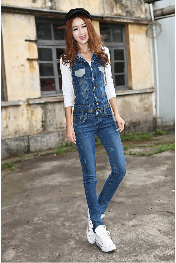 Clearance of good quality jeans Onesie fit sleeveless Hoodie Onesie autumn Onesie jeans pants can be separated