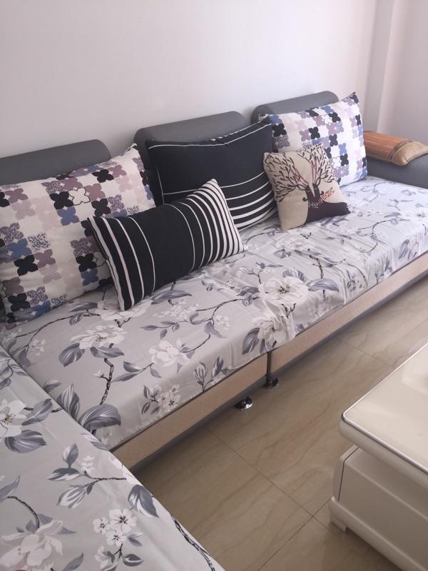 全盖防滑布艺印花老粗布沙发巾买一条送一条单人床单