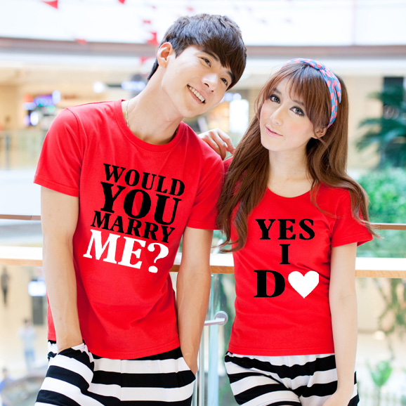 Wedding studio photo clothing letter love declaration Couple Dress marry me proposal short sleeve simple couple T-shirt