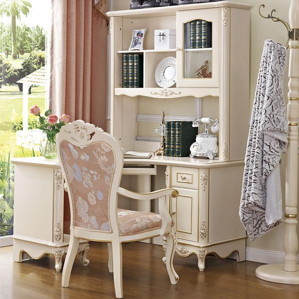 欧式转角电脑桌带书架台式儿童直角书桌书架组合家用学生实木书桌