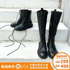 胡月明定制 2019秋冬女靴子韩版时尚长靴圆头高跟鞋粗跟女鞋子图片