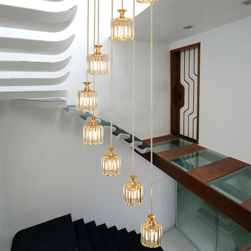 樓梯燈螺旋轉式水晶三頭六頭九頭餐廳客廳金色長吊燈led創意個性