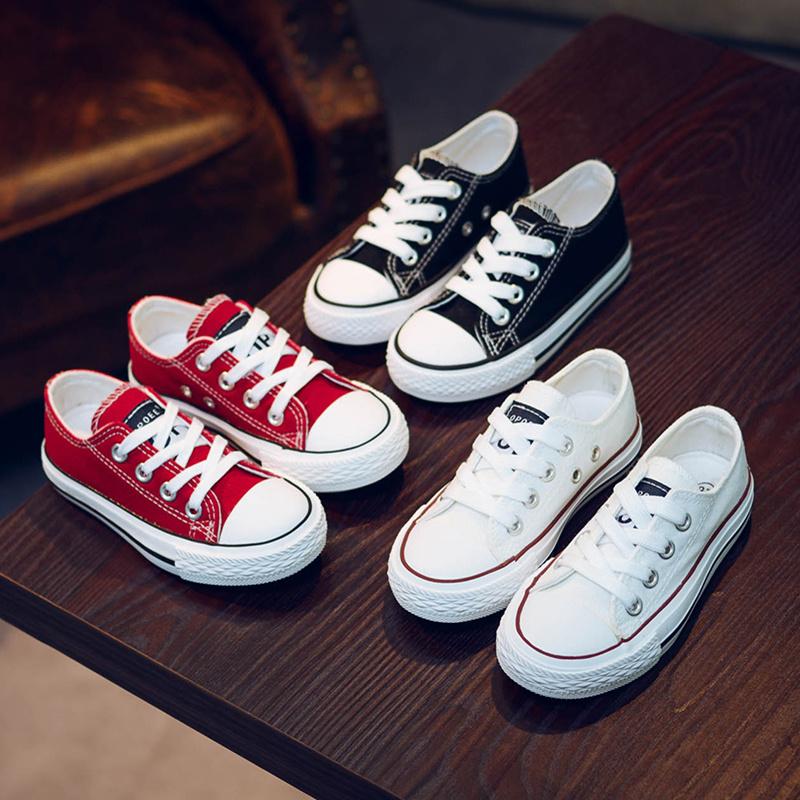 儿童帆布鞋2018秋季新款系带男童女童韩版低帮小白鞋休闲鞋亲子鞋