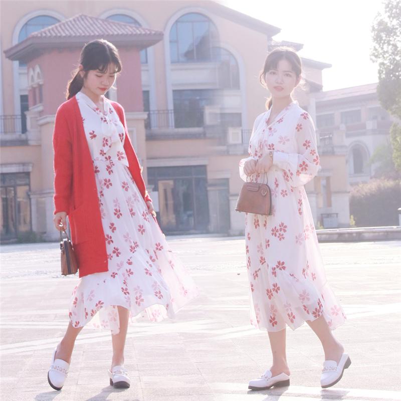 毛毛家小个子高腰连衣裙150cm显高雪纺印花中长款绑带矮个子裙子(用46元券)