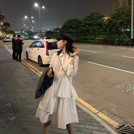 网红女装2020年春季新款裙子女中长款白色衬衫裙小个子春秋连衣裙
