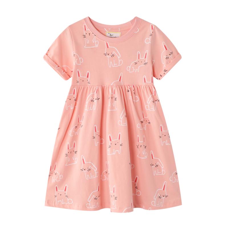 女童连衣裙2021新款夏装小童纯棉短袖小兔子休闲T恤裙子1-2岁宝宝