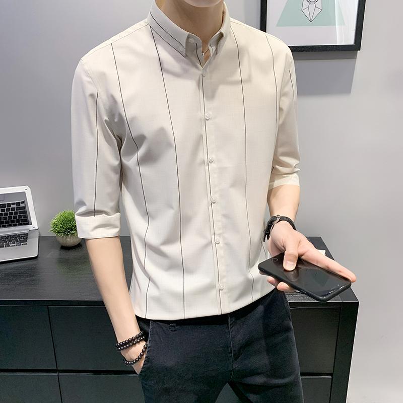 夏季休闲半袖衬衫男薄款七分袖短袖五分袖潮五分男士条纹中袖衬衣