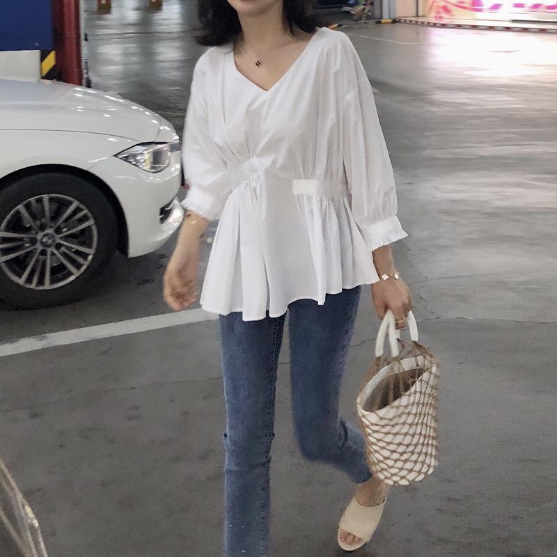 裙摆上衣衬衫2018夏装新款韩版宽松七分灯笼袖V领收腰打底衬衣女