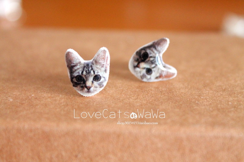 Baby hand made meow star Angora cat Earrings 925 silver cute Earrings female Mori ear clip without ear hole