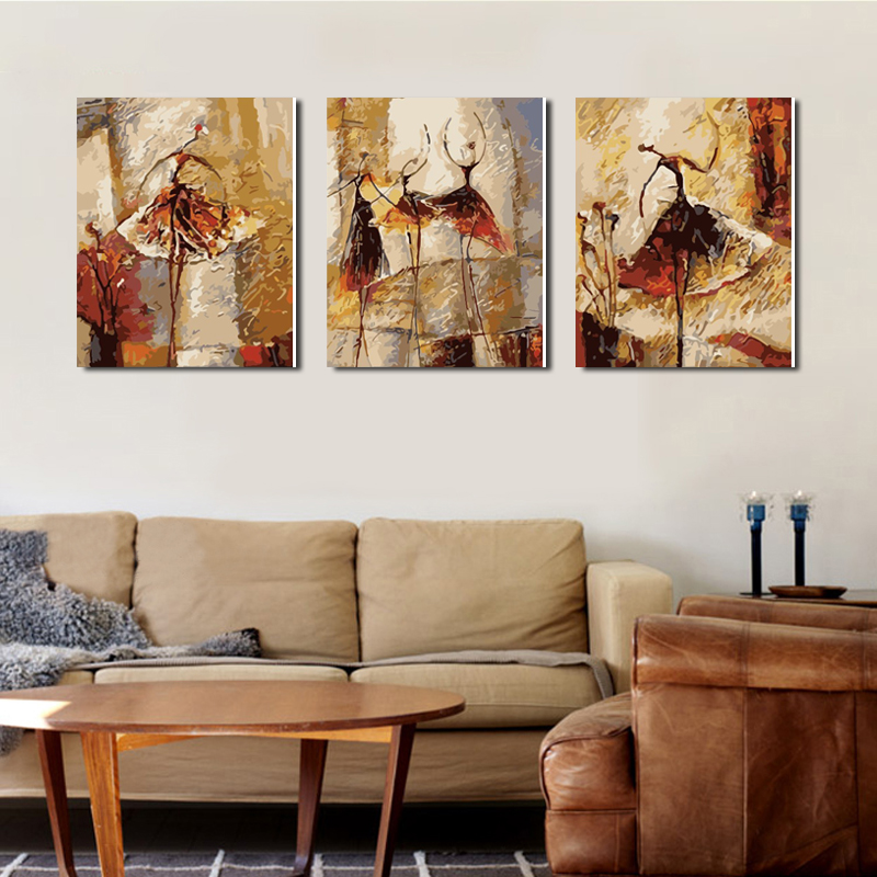 DIY декоративная живопись, цифровая живопись пейзаж поженено к живущей комнате 50 * 120 тройной три правописания классического балета