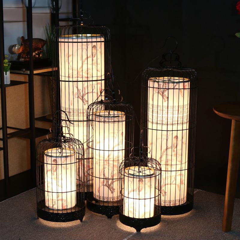 中式铁艺鸟笼吊灯酒店创意落地灯咖啡厅个性复古工业风鸟笼灯
