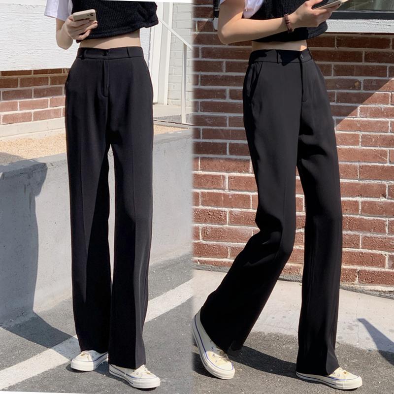 直筒西装裤女小个子春秋高腰显瘦黑色西裤垂感高个子休闲阔腿裤子