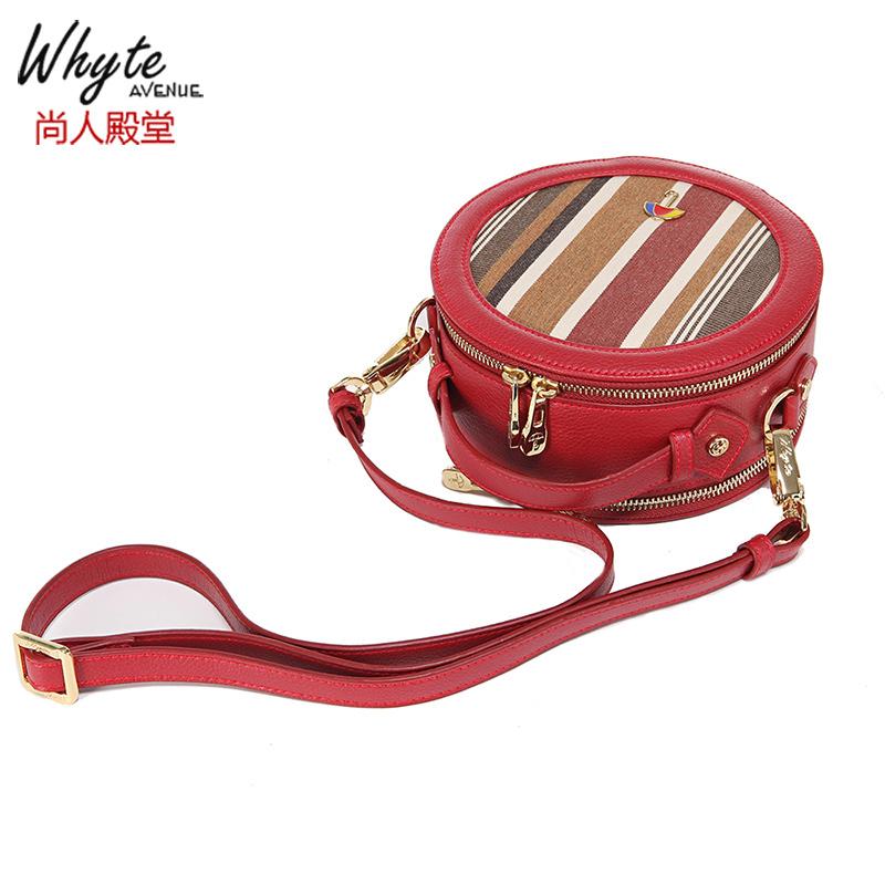 Shangren Palace New Red Handbag small round bag stripe Canvas Bag Messenger Bag womens bag Sunbrella material