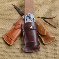 迪科尔瑞士军刀皮套牛皮通用刀套小折刀刀鞘真皮疯马皮折叠刀皮鞘