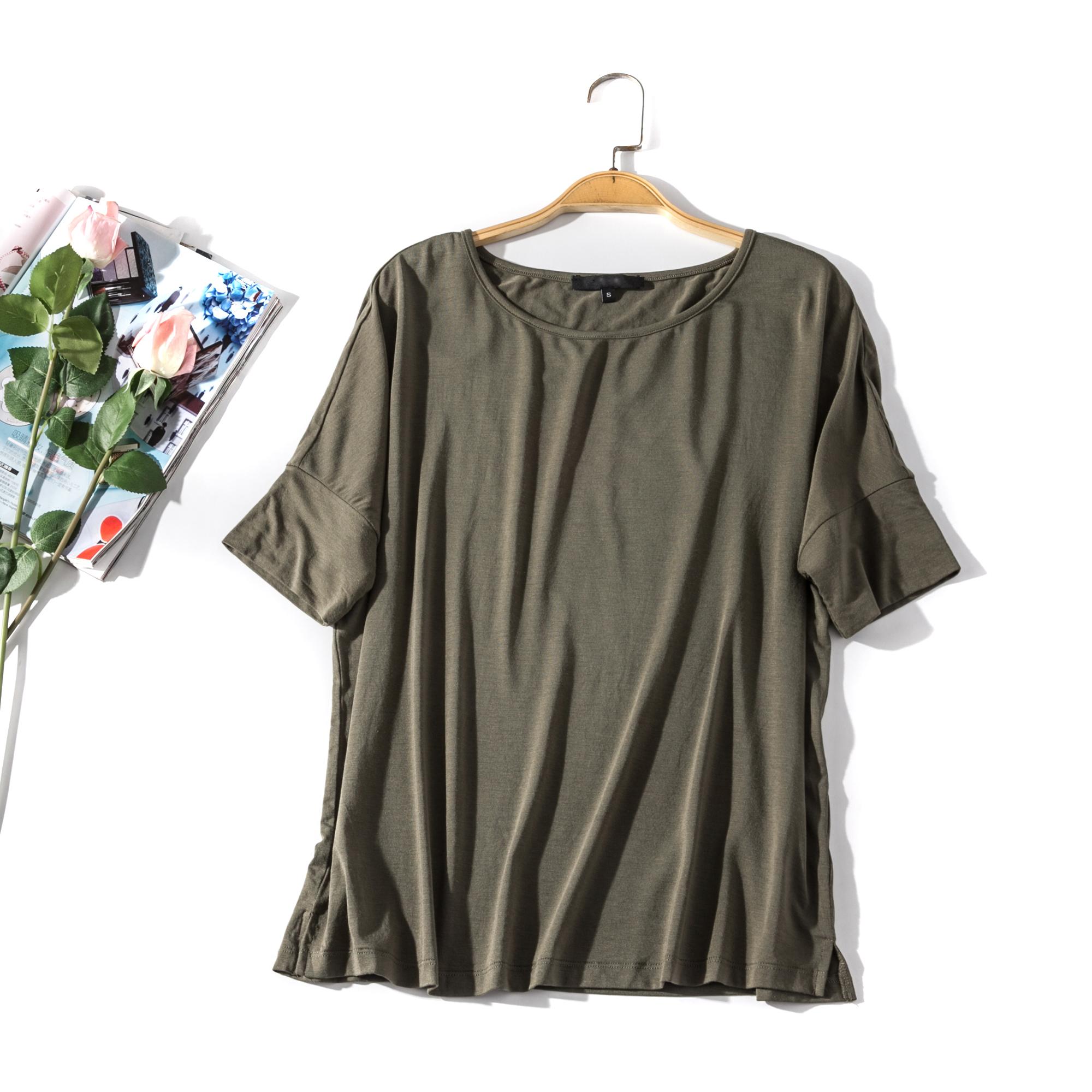 出口欧美单女装胸围98-138cm 圆领短袖纯色莫代尔打底衫T恤女L34A