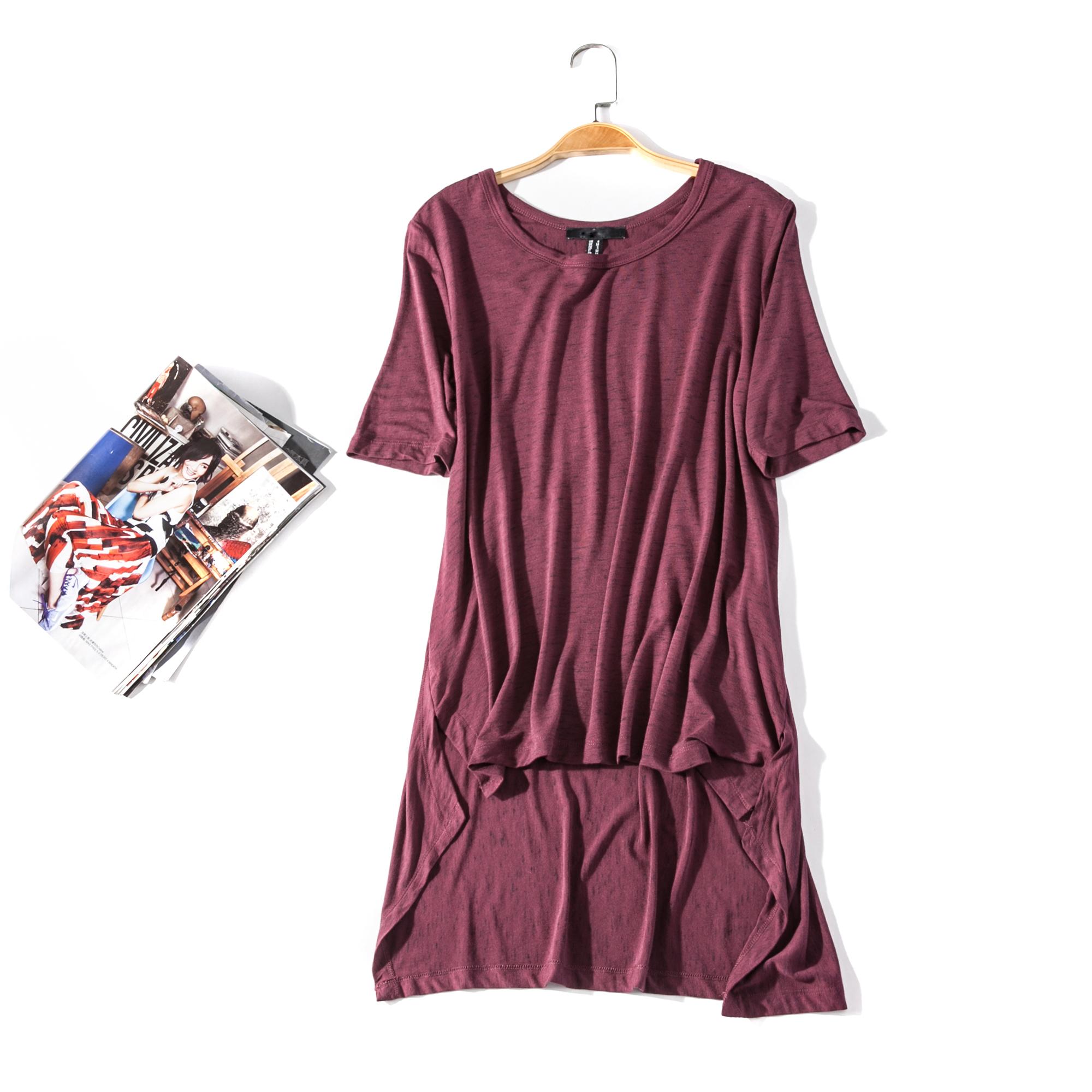 出口欧美单女装胸围92-144cm 圆领短袖前短后长套头T恤女I075C
