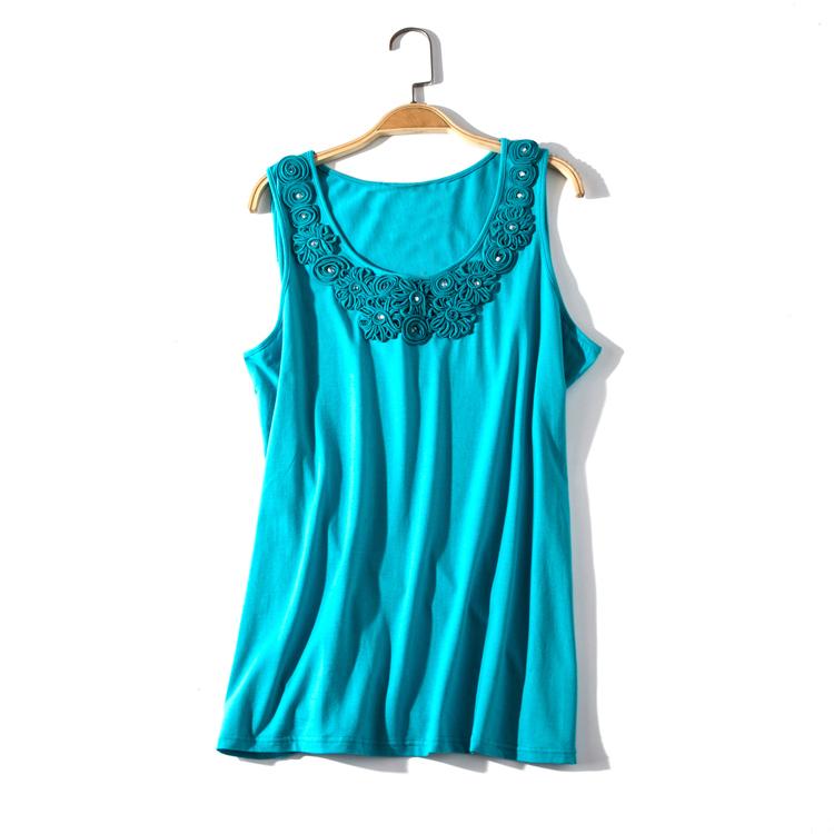 出口欧美单女装胸围86-126cm 95棉纯色圆领盘花背心女打底衫I332